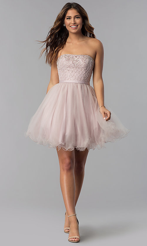 Image of strapless short beaded-bodice homecoming dress. Style: DQ-3056 Detail Image 3