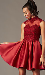 Image of high-neck lace-applique homecoming dress. Style: DQ-3069 Detail Image 1