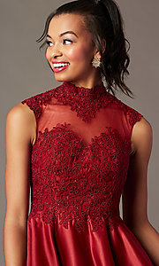 Image of high-neck lace-applique homecoming dress. Style: DQ-3069 Detail Image 2