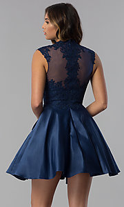 Image of high-neck lace-applique homecoming dress. Style: DQ-3069 Back Image