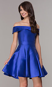 Image of off-the-shoulder a-line satin homecoming dress. Style: JT-799 Front Image