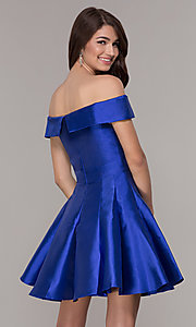 Image of off-the-shoulder a-line satin homecoming dress. Style: JT-799 Back Image
