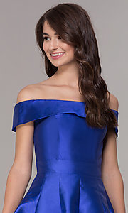 Image of off-the-shoulder a-line satin homecoming dress. Style: JT-799 Detail Image 1