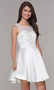 Image of sleeveless lace-bodice satin homecoming dress. Style: JT-807 Front Image