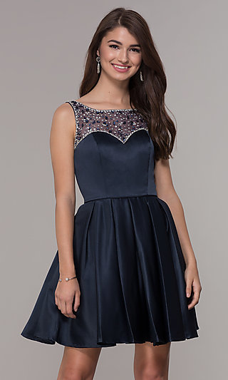 Navy Blue Short A-Line Homecoming Dress