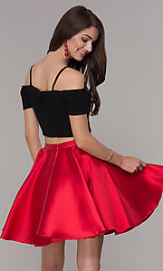 Image of two-piece short cold-shoulder homecoming dress. Style: JT-809 Back Image