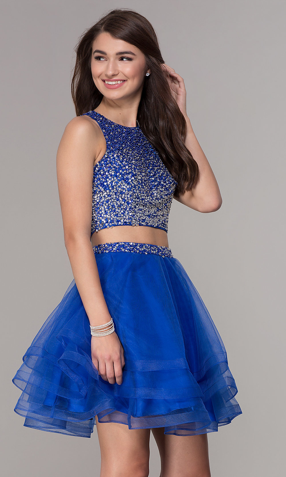 249b4994c Two-Piece High-Neck Homecoming Party Dress - PromGirl