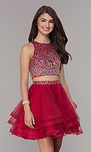 Image of high-neck two-piece homecoming party dress. Style: JT-810 Detail Image 3