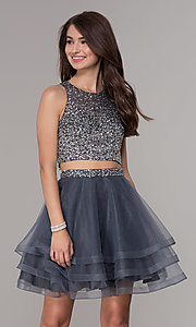 Image of high-neck two-piece homecoming party dress. Style: JT-810 Detail Image 2