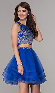 Image of high-neck two-piece homecoming party dress. Style: JT-810 Front Image