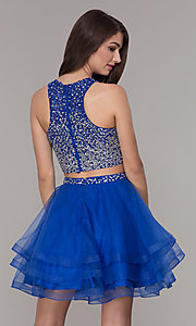 Image of high-neck two-piece homecoming party dress. Style: JT-810 Back Image
