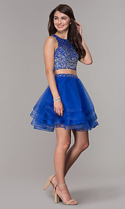 Image of high-neck two-piece homecoming party dress. Style: JT-810 Detail Image 1
