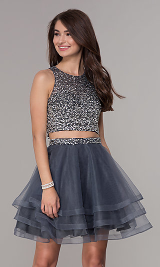 High-Neck Two-Piece Homecoming Party Dress