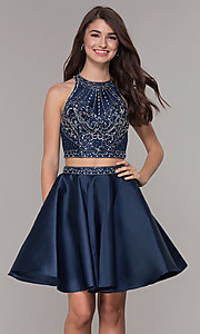 Image of two-piece navy blue homecoming dress. Style: JT-811 Front Image
