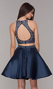 Image of two-piece navy blue homecoming dress. Style: JT-811 Back Image