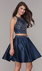 Image of two-piece navy blue homecoming dress. Style: JT-811 Detail Image 1