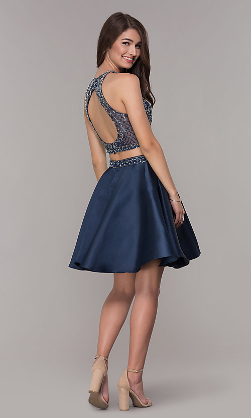 Image of two-piece navy blue homecoming dress. Style: JT-811 Detail Image 3