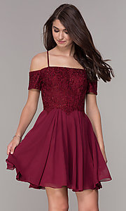 Image of off-the-shoulder homecoming short-sleeve dress. Style: JT-814 Front Image