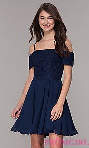Image of off-the-shoulder homecoming short-sleeve dress. Style: JT-814 Detail Image 1
