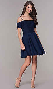 Image of off-the-shoulder homecoming short-sleeve dress. Style: JT-814 Detail Image 3