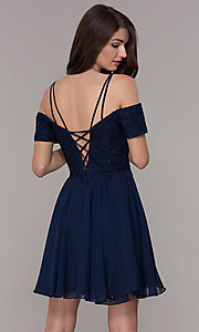 Image of off-the-shoulder homecoming short-sleeve dress. Style: JT-814 Back Image