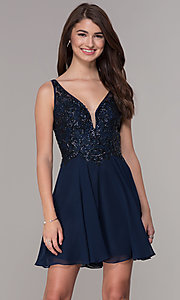 Image of short v-neck homecoming dress with embroidery. Style: JT-819 Front Image