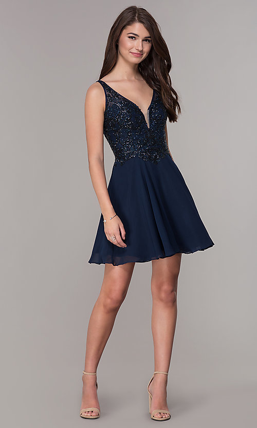 Image of short v-neck homecoming dress with embroidery. Style: JT-819 Detail Image 2