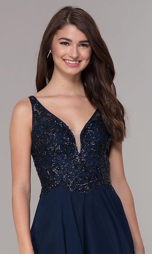 Image of short v-neck homecoming dress with embroidery. Style: JT-819 Detail Image 1