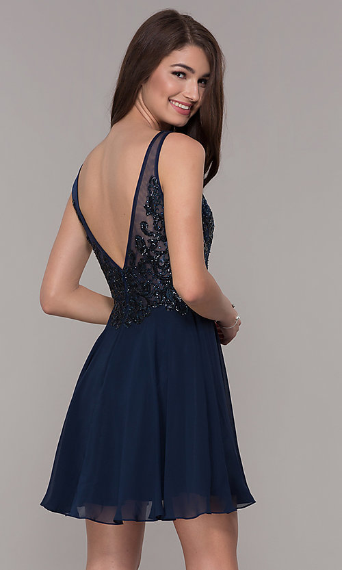 Image of short v-neck homecoming dress with embroidery. Style: JT-819 Back Image