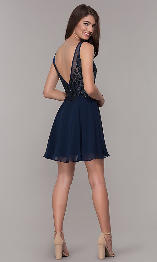 Image of short v-neck homecoming dress with embroidery. Style: JT-819 Detail Image 3