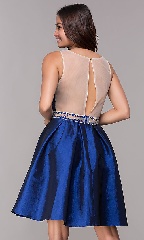 Image of short illusion homecoming party dress with pockets. Style: SOI-S17590 Back Image