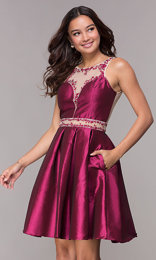 Image of short illusion homecoming party dress with pockets. Style: SOI-S17590 Front Image