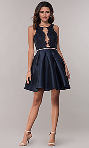 Image of short box-pleated-skirt satin homecoming dress. Style: SOI-S17996 Detail Image 2