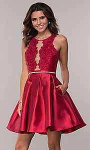 Image of short box-pleated-skirt satin homecoming dress. Style: SOI-S17996 Detail Image 3