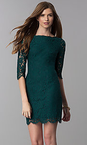 Image of lace short homecoming dress with sleeves. Style: SOI-6068 Front Image
