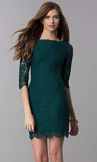 Lace Short Homecoming Dress with Sleeves 8e866d0e1489