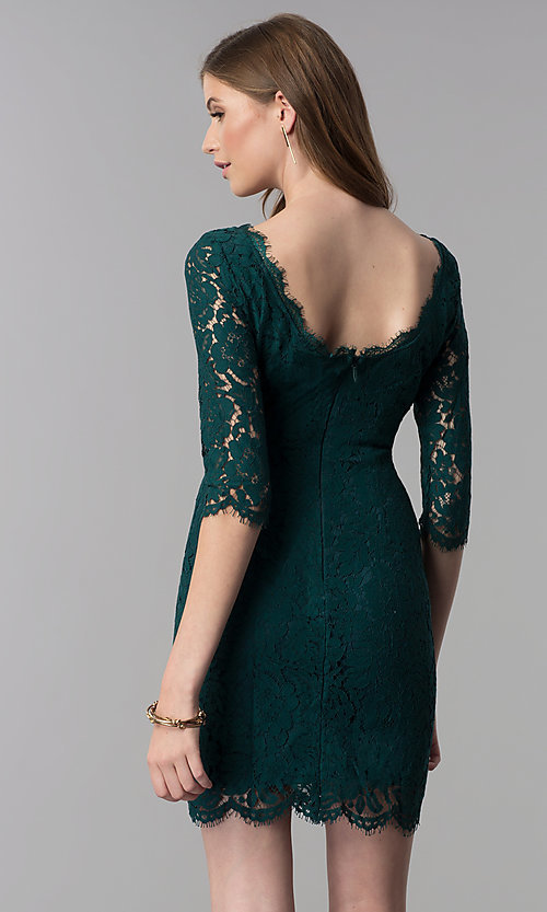 Image of lace short homecoming dress with sleeves. Style: SOI-6068 Back Image