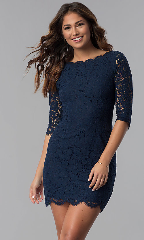 Image of lace short homecoming dress with sleeves. Style: SOI-6068 Detail Image 1