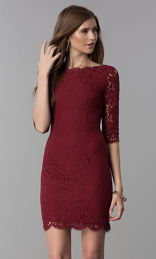 Image of lace short homecoming dress with sleeves. Style: SOI-6068 Detail Image 2