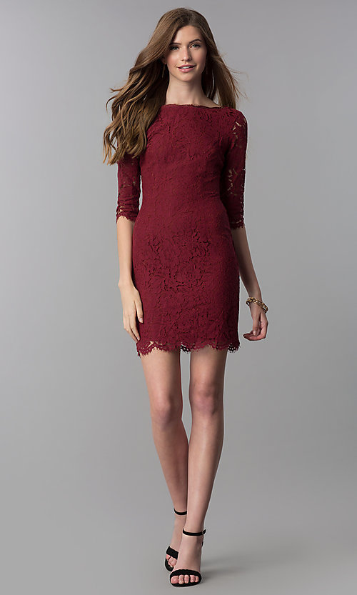 Image of lace short homecoming dress with sleeves. Style: SOI-6068 Detail Image 3