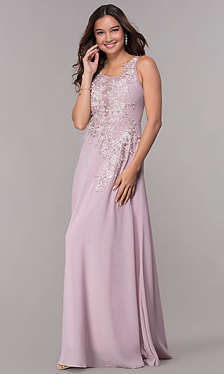 Lace Appliqued Bodice Long Homecoming Dress