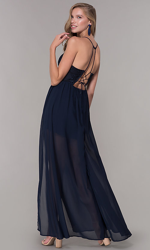 Navy Blue Long V Neck Chiffon Formal Dress Promgirl