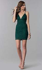 Image short emerald green v-neck glitter lace party dress. Style: EM-FQQ-3473-330 Detail Image 3