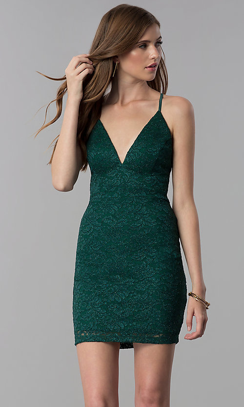 Image short emerald green v-neck glitter lace party dress. Style: EM-FQQ-3473-330 Front Image