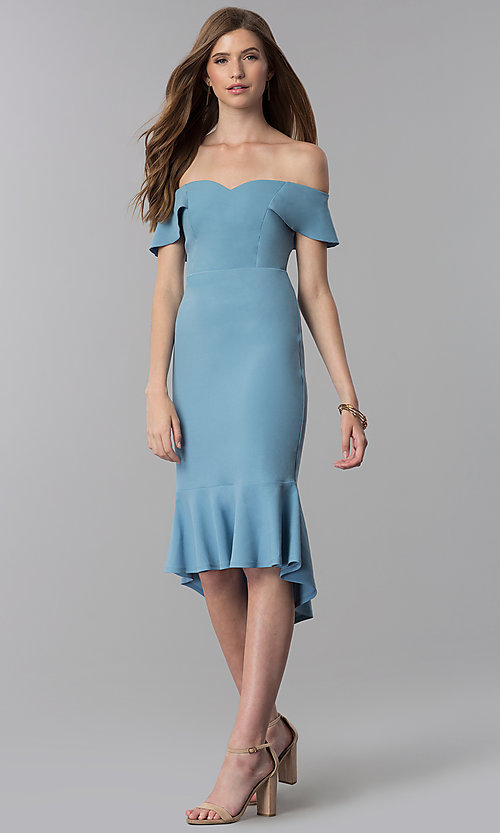 Image of high-low off-the-shoulder wedding guest dress in blue. Style: EM-FZL-3405-400 Front Image