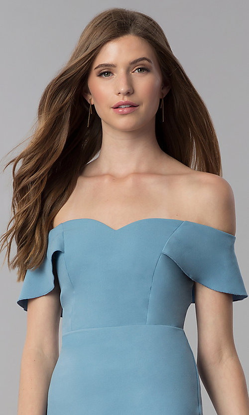 Image of high-low off-the-shoulder wedding guest dress in blue. Style: EM-FZL-3405-400 Detail Image 1