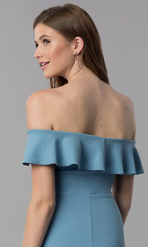 Image of high-low off-the-shoulder wedding guest dress in blue. Style: EM-FZL-3405-400 Detail Image 2