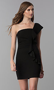 Image of black short one-shoulder party dress with ruffle. Style: EM-FZN-3405-001 Front Image