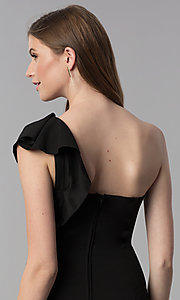 Image of black short one-shoulder party dress with ruffle. Style: EM-FZN-3405-001 Detail Image 2