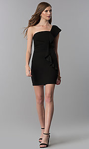 Image of black short one-shoulder party dress with ruffle. Style: EM-FZN-3405-001 Detail Image 3